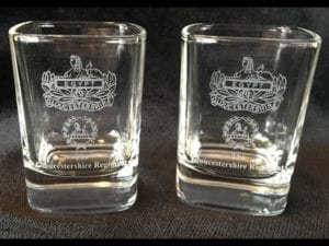 Gloucestershire Regiment Dram Glass pair.