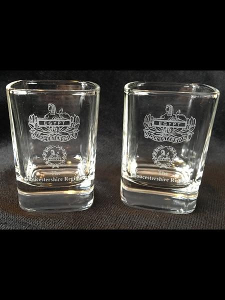 Gloucestershire Regiment Dram Glass pair.